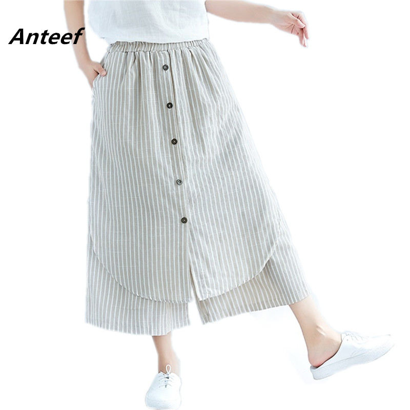 Cotton Linen Vintage Plus Size Casual Loose Summer Trousers Women Wide Leg Harem Skirt Pants 2019 Pantalon Femme Streetwear