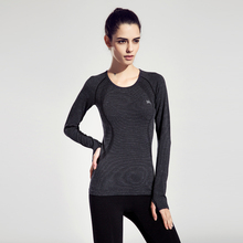Women Functionality Long-Sleeve Yoga T-shirt Quick Dry Comfortable Black Solid Colors Sport Shirts Slim Running Fitness Clothes