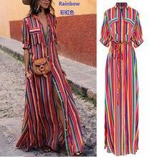 купить ZOGAA 2019 Women Summer Striped Printed Beach Dresses Short Sleeve Long Dress Women Casual A-line Holiday Party Dress Vestidos по цене 952.62 рублей