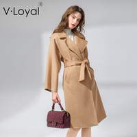 Новые зимние товары, свободное кружево, двустороннее кашемировое пальто, пальто с длинными волосами в европейском и американском стиле.