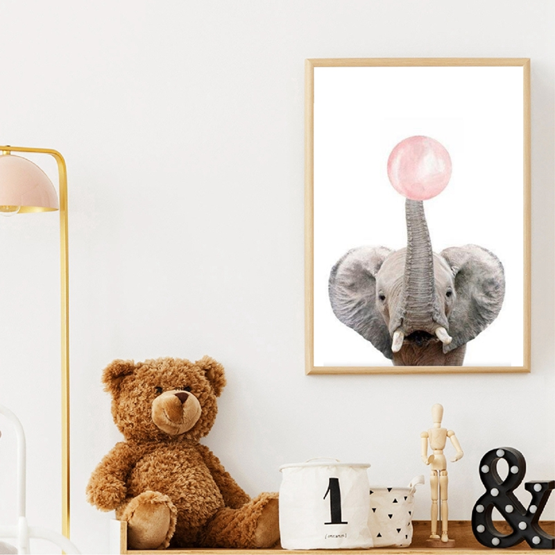 Elephant Canvas Art Poster Kids Room Decor