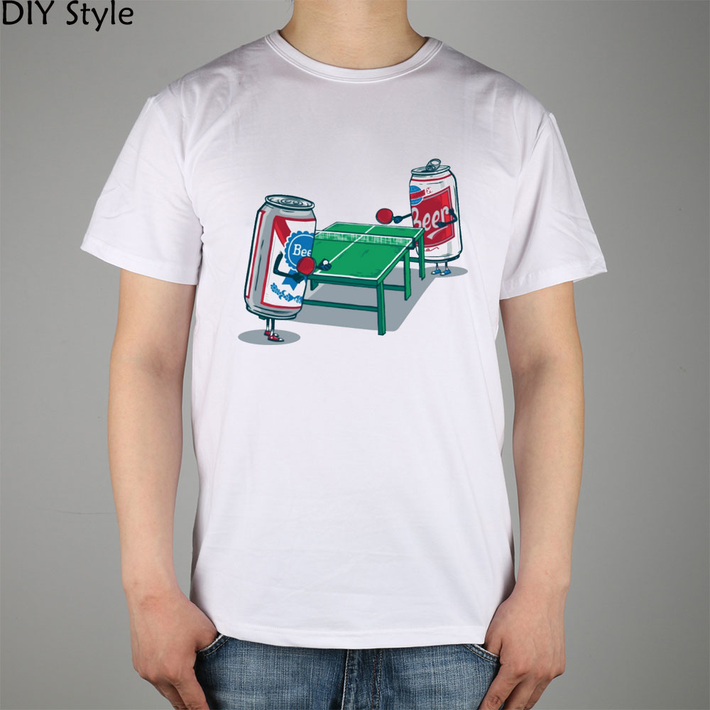 FUNNY BL TABLE PING PONG BEER short sleeve T-shirt Top Lycra Cotton Men T shirt New DIY Style
