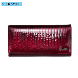 Image 2 - VICKAWEB Long Thick Wallet Female Fashion Alligator Purse Women Genuine Leather Standard Wallets Hasp womens wallets and purses