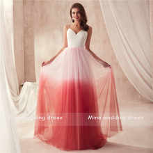 Spaghetti Straps A-line Fashion Fade Tulle Multicolor Prom Dress Two Stones Open Back Flowing Tulle Evening Gowns