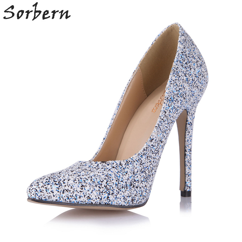 Sorbern Sexy Glitter Fashion Shoes Women Size 43 Heels Runway 2018 Shoes 12Cm Heels Pink Stiletto Plus Size Ladies Shoes classic fashion women s club banquet wedding shoes sexy suede zipper 17 cm in stiletto heels