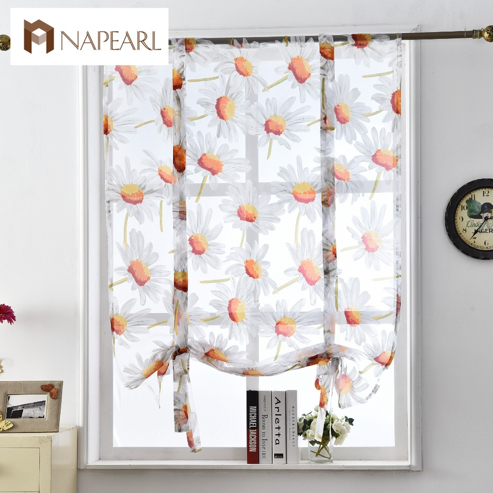 Floral roman curtains short kitchen door panel tulle curtains short window curtains modern voile sheer curtains flower style in curtains from home garden