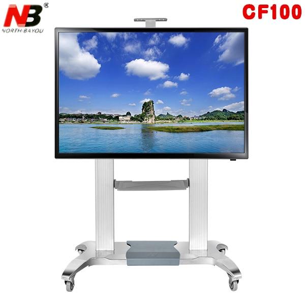 NB CF100 luxe robuste en aluminium 60-100 pouces LED LCD TV chariot Mobile Base de levage et d'extension gratuite