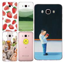 Strawberry Soft Clear TPU Phone Case For Samsung J3 J5 J7 S6 S7 S8 note8 A3 A5 C7 J2prime Smile Flora Luxury Cover Free Shipping(China)