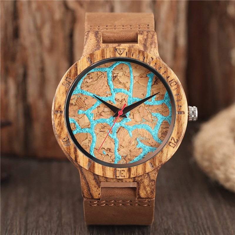 Wooden Watch Clock Quartz Dial Creative Unique Genuine-Leather Mens New-Fashion Bangle