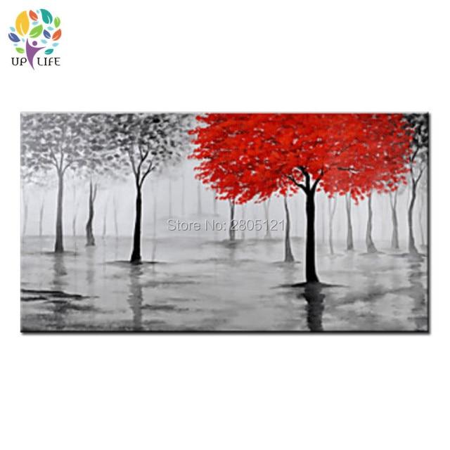 Handgemalte Moderne Wohnzimmer Dekorative ölgemälde Leinwand Bild Abstrakte  Design Rot Baum Landschaft ABSTRAKTE Wandkunst