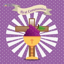 Laeacco First Communion Chalice Cross Grape Circle Pattern Photography Background Scenic Photographic Backdrops Photo Studio