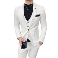 Pure color men dress three piece set ( men suit jacket with pants and vest ) Asia size S M L XL XXL XXXL 8 colors mens Blazer