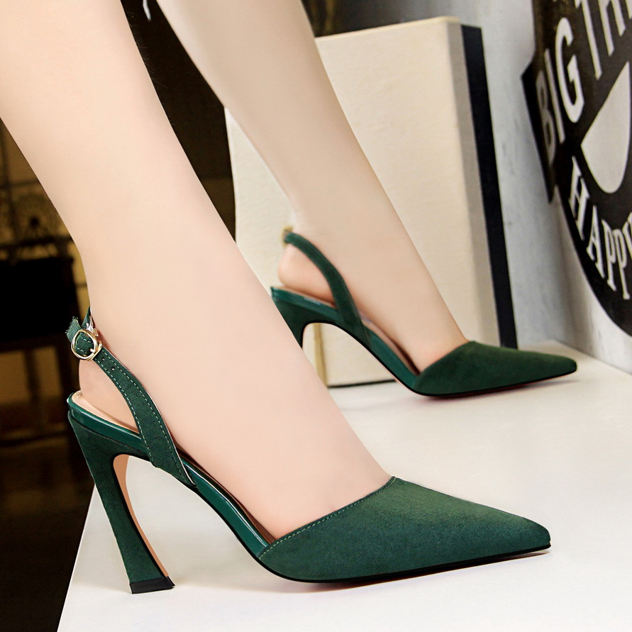 2018 Sexy Women Summer Green High Heels Sandals Slingback Kitten Suede Heels Female Escarpins Elegant Office Lady Party Shoes цена 2017