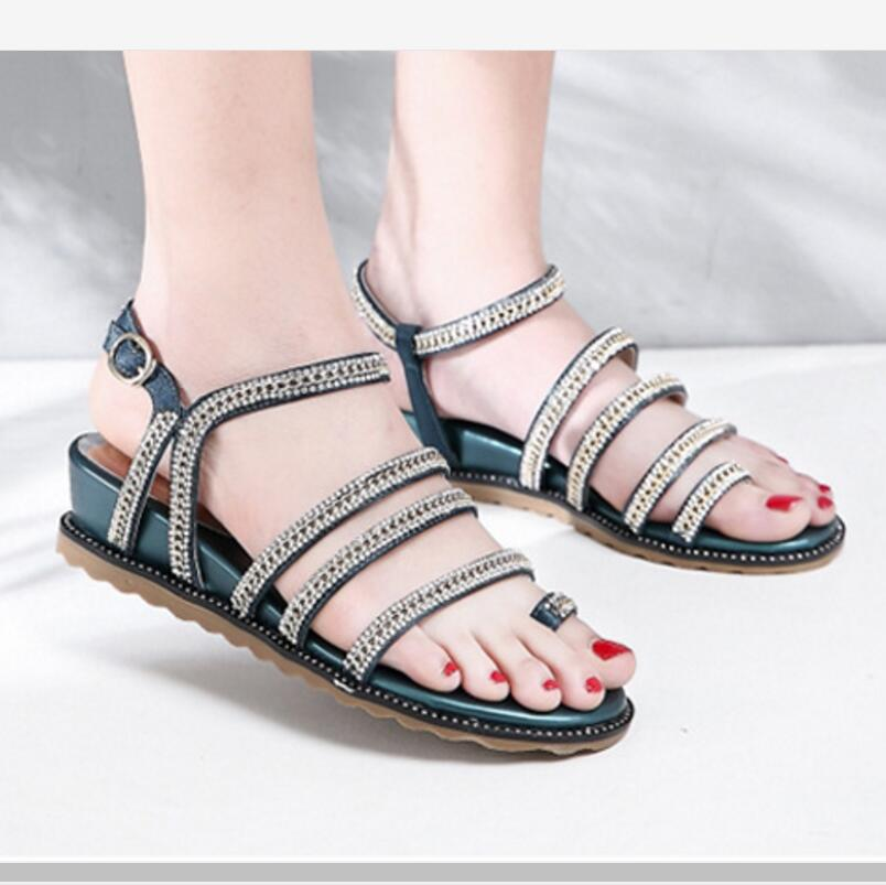 women chunky heel shoes Zapatos Mujer sapato ladies casual woman summer flatform wedge flip thong sandals crystal shiny F180215 rhinestone silver women sandals low heel summer shoes casual platform shiny gladiator sandal fashion casual sapato femimino hot