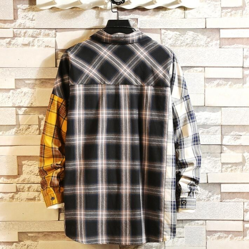 0155 Spring Men 39 s Shirts With Long Sleeves Hip Hop Streetwear Shirts Split Joint Japanese Style Casual Shirts For Men Cotton in Casual Shirts from Men 39 s Clothing