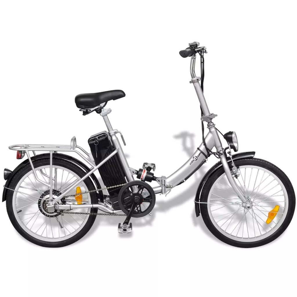 "vidaXL Foldable Electric Bike Lithium-Ion Battery 20"" Aluminum Alloy Wheel 25 km/h Max Speed 50-60km with PAS Electric Bicycle"