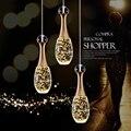 Новинка  скандинавские светодиодные подвесные светильники  лампа с кристаллом + металлический подвесной светильник  современные светильни...