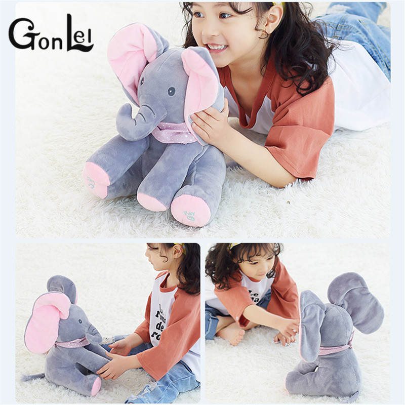 GonLeI Peek-a-Boo Elephant Baby Toy Musical Doll Kids Interactive Funny Peek a boo Elephant Stuffed Animals Animated Kids Gift funny fishing game family child interactive fun desktop toy
