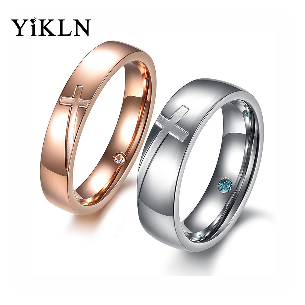 YiKLN Romantic Cross Couple Wedding Ring Trendy 316L Stainless Steel CZ Cubic Zirconia Uinsex Ring Jewelry For Women Men OGJ383