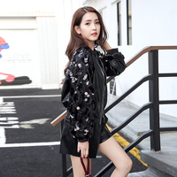 2018 spring and autumn women's new fashion sequins sleeve pu leather jacket coat female leather baseball uniform bomber jacket