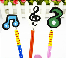 Free shipping 20pcs/lot stationery creative wooden music symbol pencil wooden craft pencil stationery prize for students