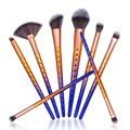 De'lanci 8 pcs pincéis de maquiagem cosméticos make up tools contour pó fã fundação sombra jogo de escova cor gradiente alça
