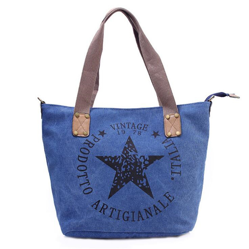 da lona do vintage sacolas Star Shoulder Bag Gender : Women, Girl, Teenagers, Student, Female