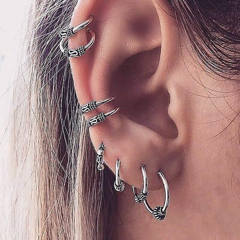 8pcs Punk Vintage Ear Clip Pendientes Brincos Bohemian Silver Color Circle Cuff Earrings Set For Women Cartilage Earring Jewelry