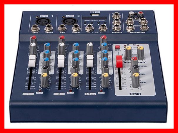 Prix pour NFS2RU 4 Canal ELM F4 DJ Mixer Pour La Phase Accueil karaoké 48 V alimentation Fantôme USB entrée LED son console Mikser