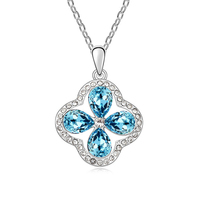 Teardrop Shaped Blue Crystal Flower Necklaces For Women Wife White Gold Plated Female Birthday Gifts Free