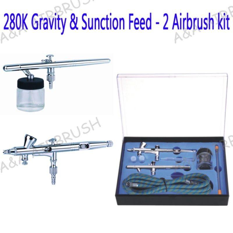 Airbrush kit includes 2 Airbrush ,Jar, Air Hose and a Regulator.Ideal for henna tattoo Nail and Autobody Beauty cake decoreting кран truper ll jar b 2 13147
