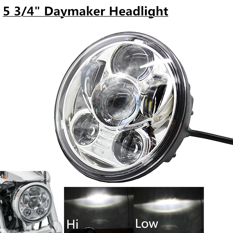 Black & Chrome 5.75 LED Headlight Motorcycle Daymaker 5 3/4 Front Driving Head Lights Headlamp For Harley VRSCD VRSCDX FLSTSE