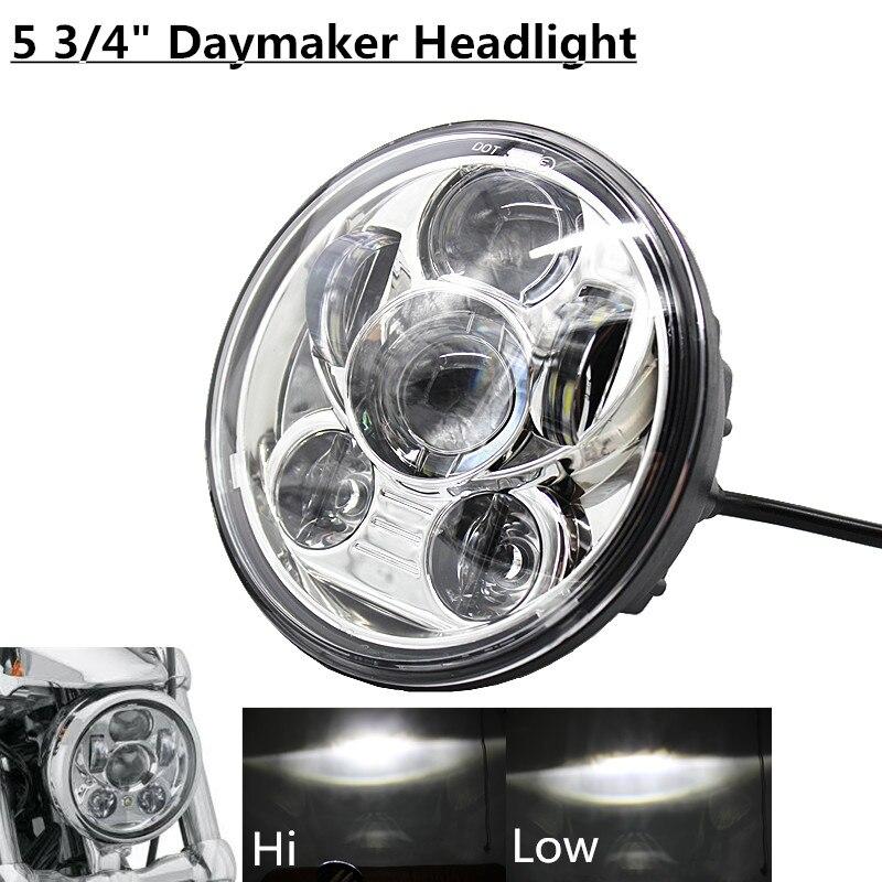 Black & Chrome 5.75 LED Headlight Motorcycle moto 5 3/4 Front Driving Head Lights Headlamp For Harley VRSCD VRSCDX FLSTSE