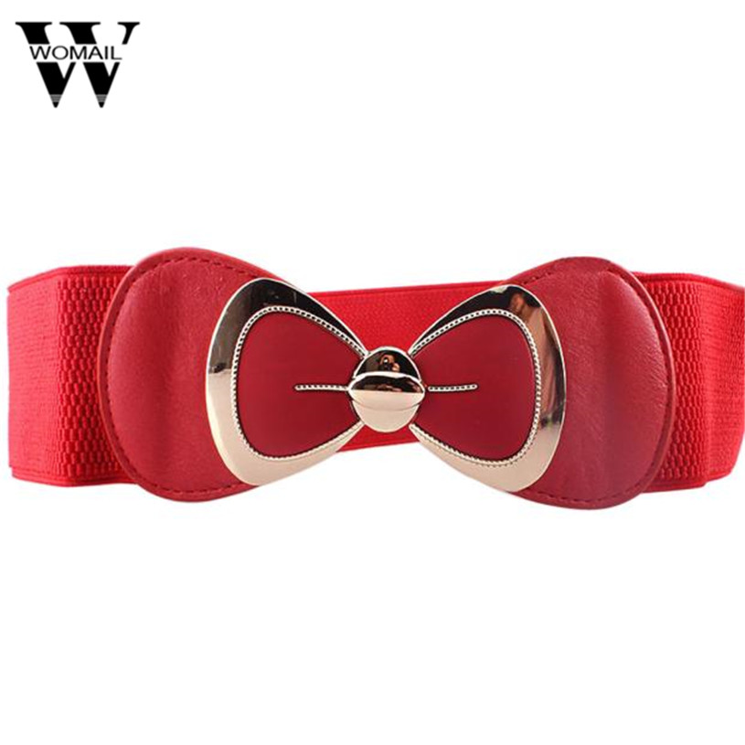 Womail exquisite Store Womail Fashion Sweet Women Bowknot Elastic Bow Wide Stretch Buckle Waistband Waist Belt Gift 1pcs