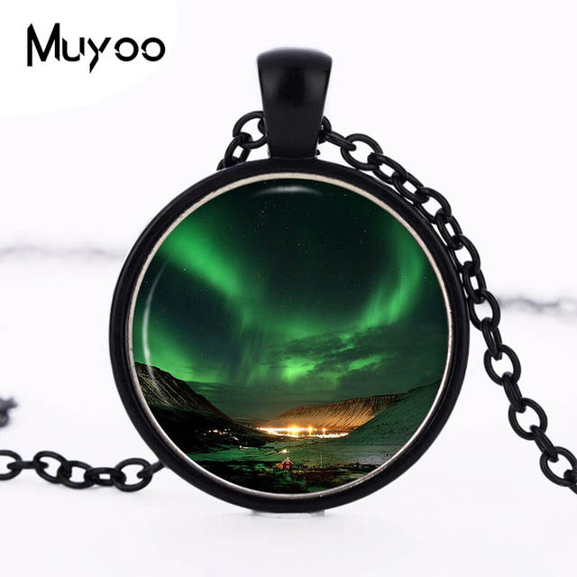 placeholder Northern Lights Pendant Necklace Space Nebula Aurora Borealis  Green Photo Charm Handmade Vintage Necklace Women Jewelry f7d4d1eb8dcb