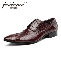 New Italian Designer Genuine Leather Men's Footwear Pointed Toe Alligator Man Wedding Party Flats Formal Dress Male Shoes HMS85