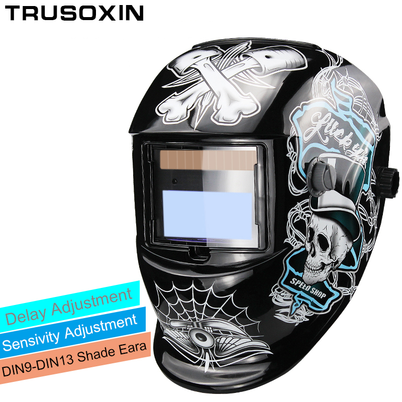 Nouveau Solaire LI batterie automatique assombrissement TIG MIG MMA MAG KR KC électrique masque de soudage/casques/soudeur cap pour machine de soudage