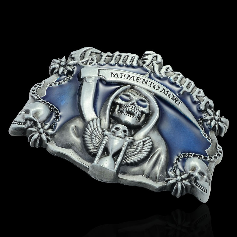 Faitheasy Luxury Men Belt Buckles Metal Skull & Cross Mens Designer Silver Belt Buckles New Year Gifts 1pc