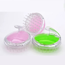2 Colors Transparent Silicone Scalp Shampoo Massage Brush Washing Shower Hair Comb Mini Head Meridian Massage Comb