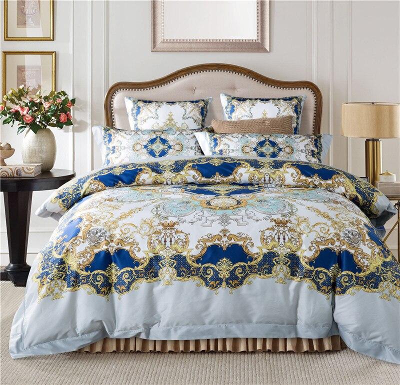 100% egyptian cotton boho bedding set white color duvet cover set/sheet set light blue pink bedding set Excellent quality