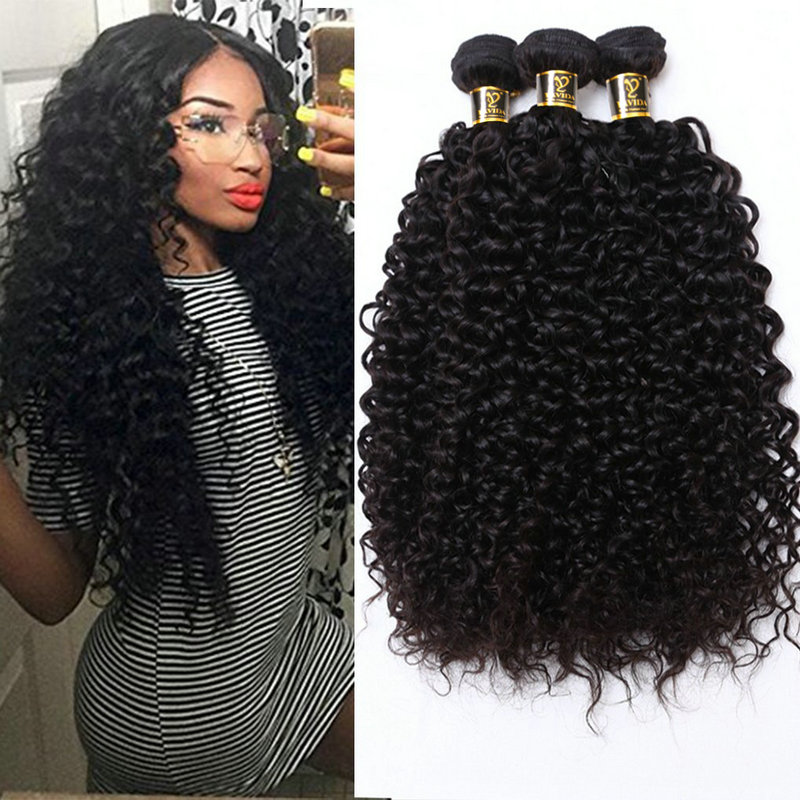 Yavida Hair Brazilian Kinky Curly Hair Bundles Natural Color 100% Brazilian Curly Hair Bundles Non Remy Hair Extension 1/3 Piece