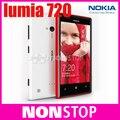 Doble núcleo original abierto de nokia lumia 720 6.1 6.1mpwifi 4.3 pulgadas gps sistema operativo windows 8 gb de memoria interna ram 512 teléfono celular