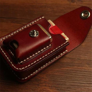 Image 1 - Retro Beste leder schlanke zigarette box mit leichter fall rauchen zubehör Bauchtasche zigarette packs abdeckung