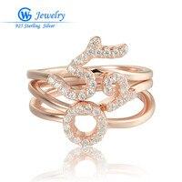 Gw mode-sieraden rose gold ringen 925 zilver gestempeld