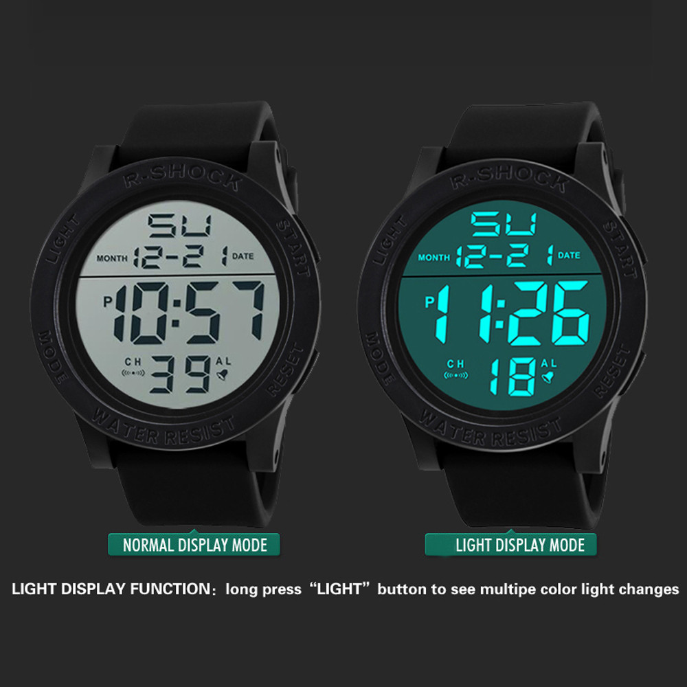 Digital Watch Men Women Relogio Sport Fashion Waterproof Men's Boy LCD Digital Stopwatch Date Rubber Sport Wrist Watch