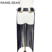 RAINIE SEAN Leather Fringe Belt With Two Buckles Wide Cummerbund Women Long Tassels Pin Buckle Black Fashion Brand Ladies Belt