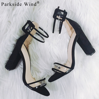 Instagram Trendy Sandals Women Ankle Strap Sandals Transparent Shoes Crystal Concise Classic Buckle High Heels Shoes