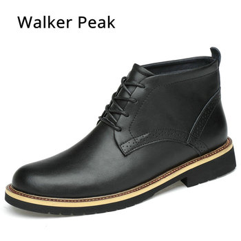 Genuine Leather Ankle Boots for men Business Chukka Mens Boots High Top Casual Shoes Outdoor Mens Winter Shoes Male Walker Peak