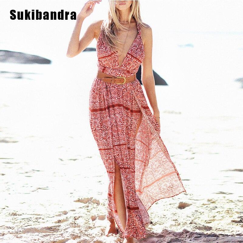 Backless Beach Wedding Dresses V Neck Flowing Vintage Boho: Sukibandra Summer Long Maxi Sleeveless Boho Beach Dress