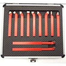 11 peças 10*10mm, ponta de ponta de carboneto de 8*8mm, conjunto de ferramentas de fresa trançada para torno de metal cnc, suporte de ferramenta de torneamento de soldagem